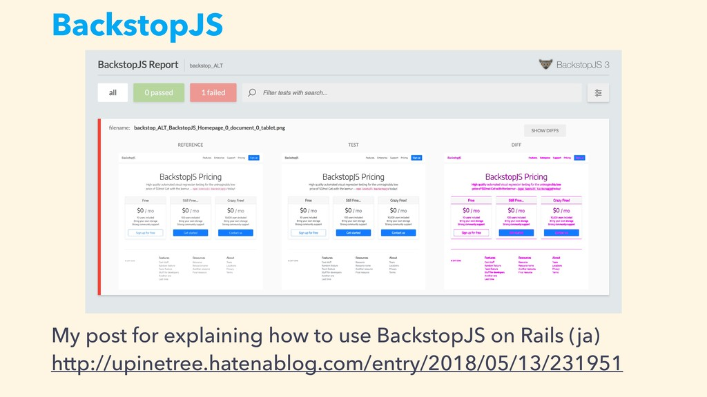 BackstopJS My post for explaining how to use Ba...