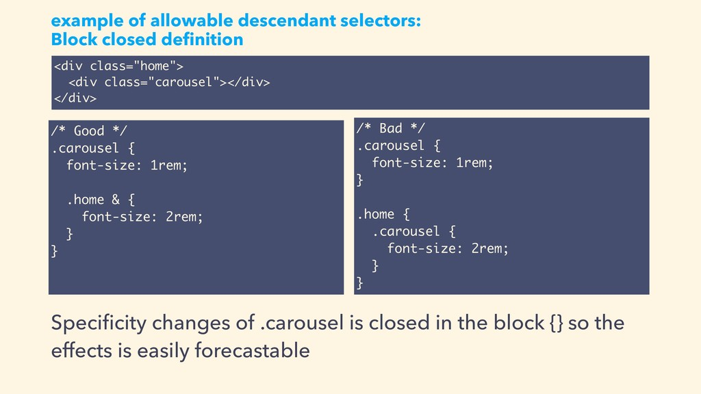 example of allowable descendant selectors: Bloc...