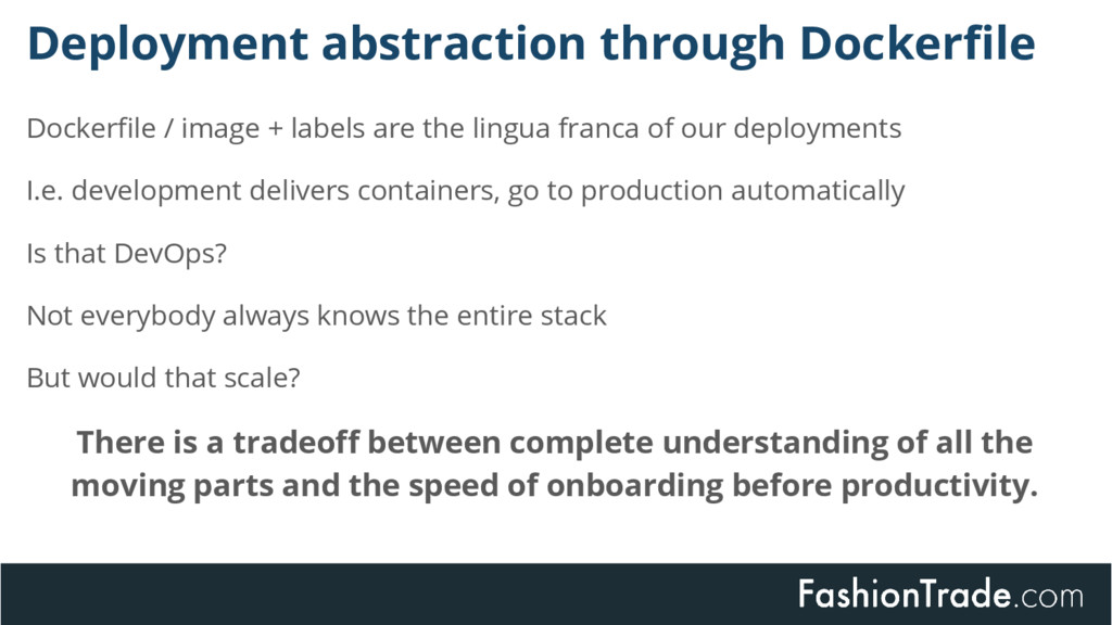 Deployment abstraction through Dockerfile Docke...