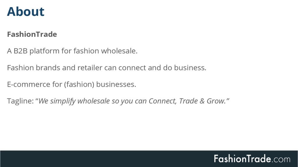 FashionTrade A B2B platform for fashion wholesa...