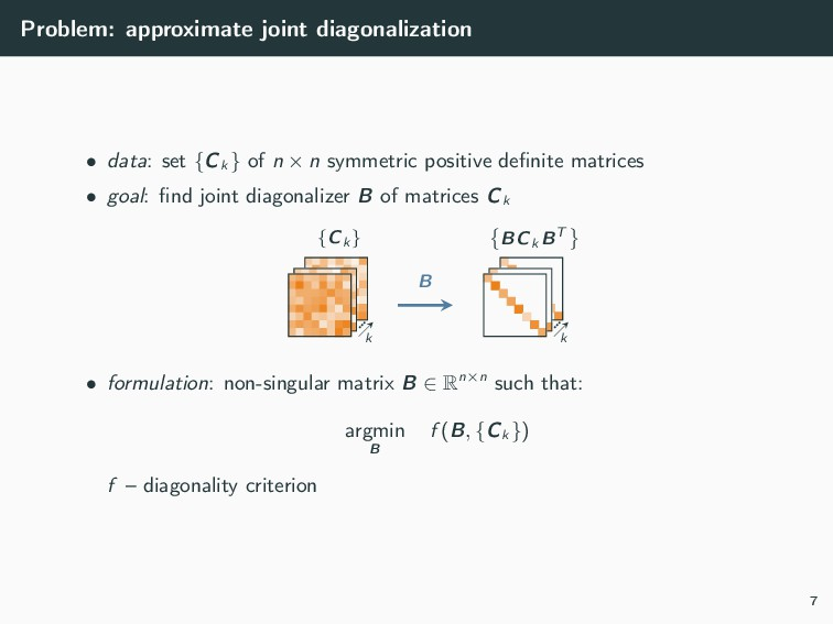 Problem: approximate joint diagonalization • da...