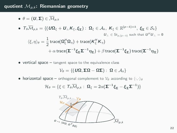 quotient Mp,k : Riemannian geometry • θ = (U, Σ...