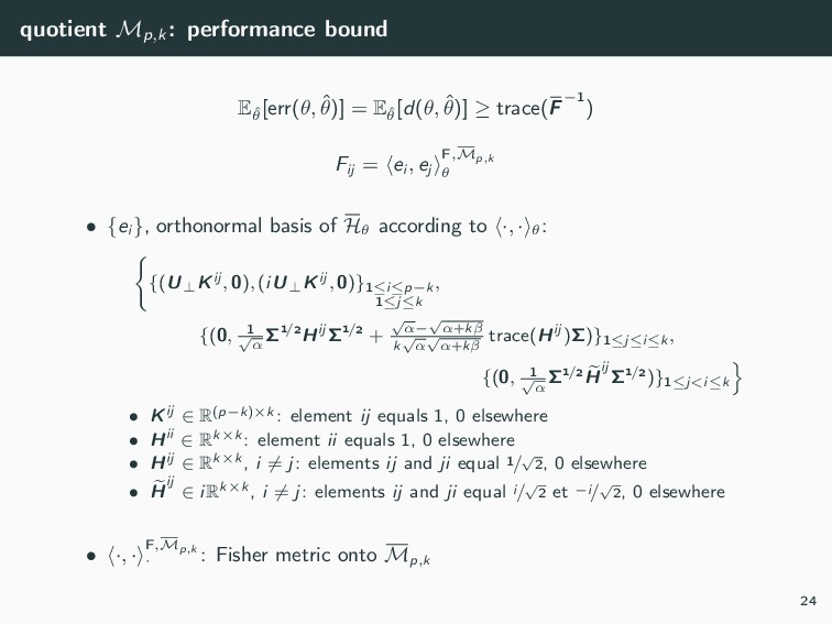 quotient Mp,k : performance bound Eˆ θ [err(θ, ...