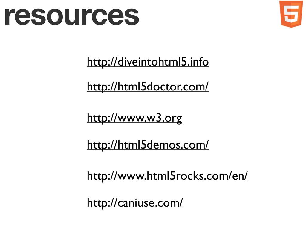 resources http://diveintohtml5.info http://html...
