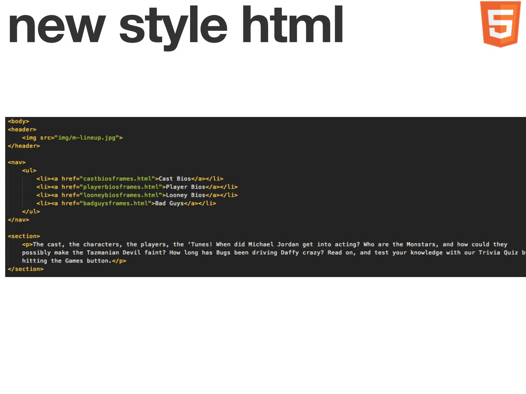 new style html