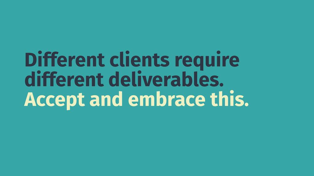 Different clients require different deliverable...