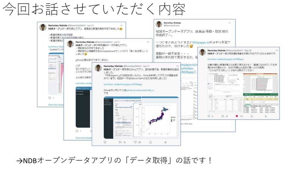今回お話させていただく内容 →NDBオープンデータアプリの「データ取得」の話です!