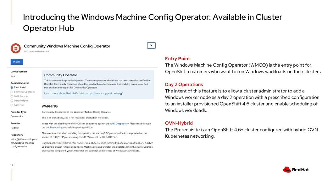 Introducing the Windows Machine Config Operator...