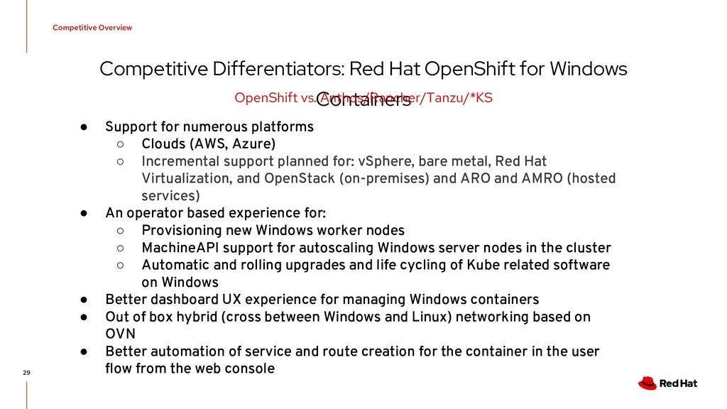 Competitive Differentiators: Red Hat OpenShift ...