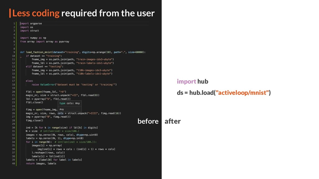 Less coding required from the user import hub d...
