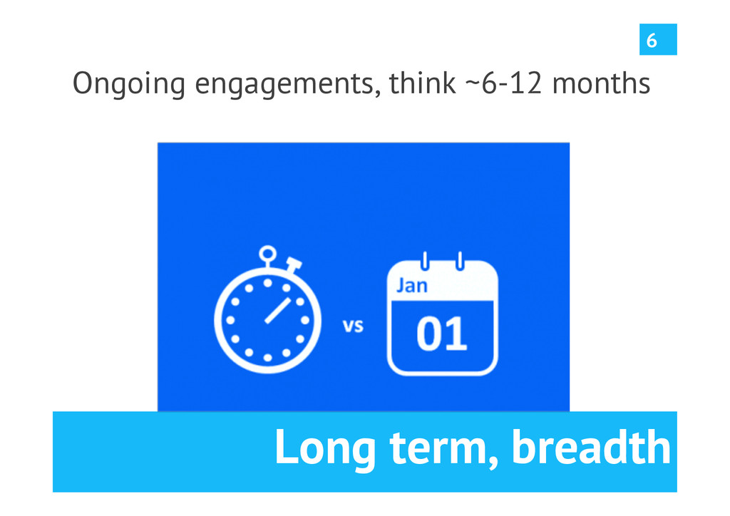 Long term, breadth Ongoing engagements, think ~...