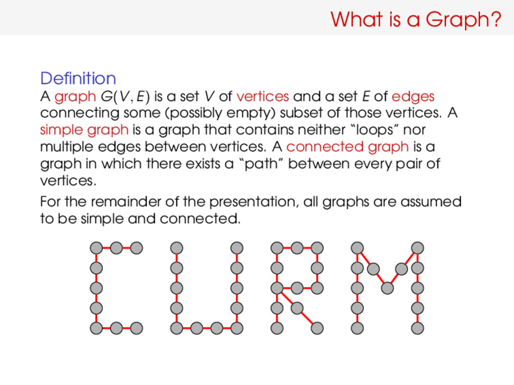 What is a Graph? Definition A graph G(V, E) is a...