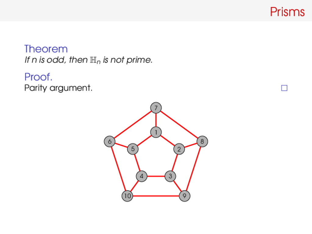 Prisms Theorem If n is odd, then Hn is not prim...