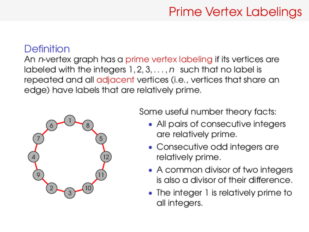Prime Vertex Labelings Definition An n-vertex gr...