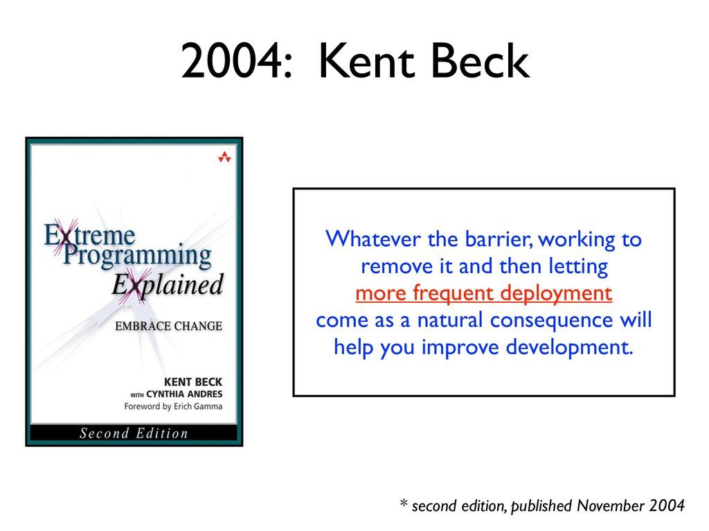 2004: Kent Beck * second edition, published Nov...