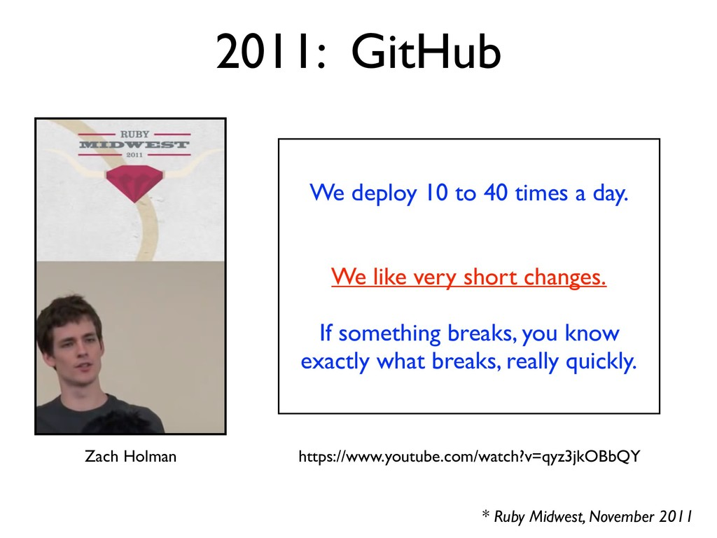 * Ruby Midwest, November 2011 2011: GitHub We d...