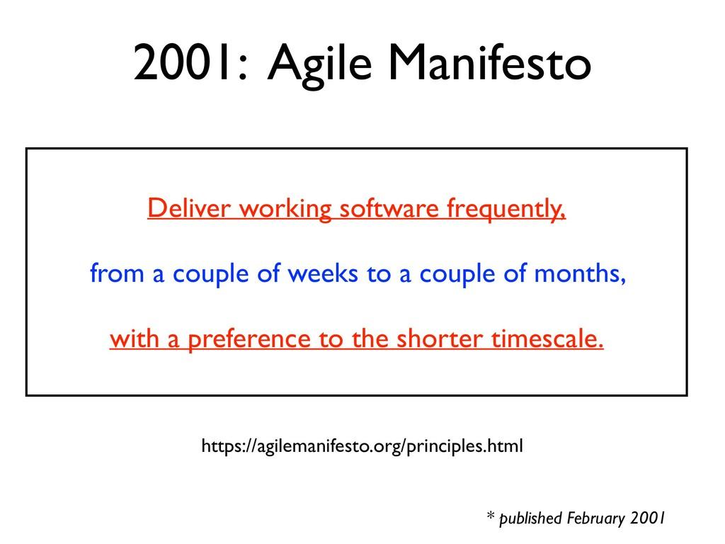 2001: Agile Manifesto * published February 2001...