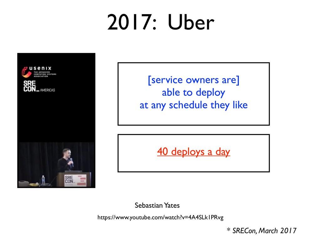 2017: Uber * SRECon, March 2017 Sebastian Yates...