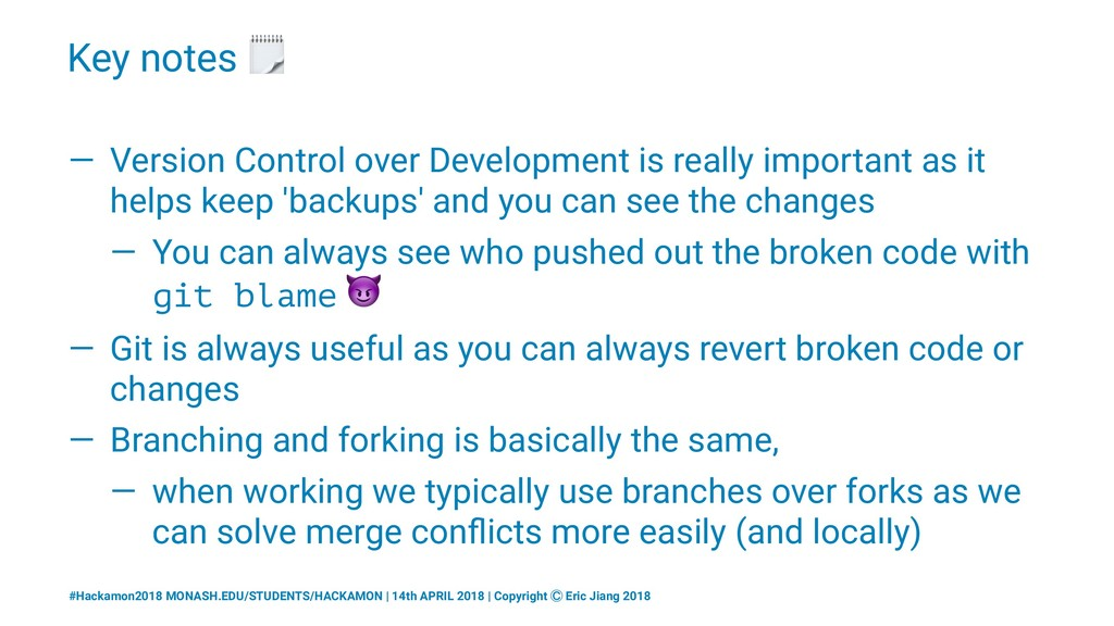 Key notes ! — Version Control over Development ...