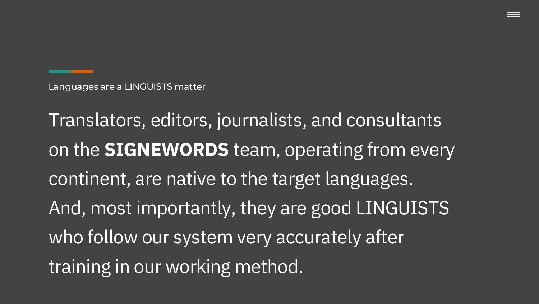 Wording is LINGUISTS matter Translators, editor...