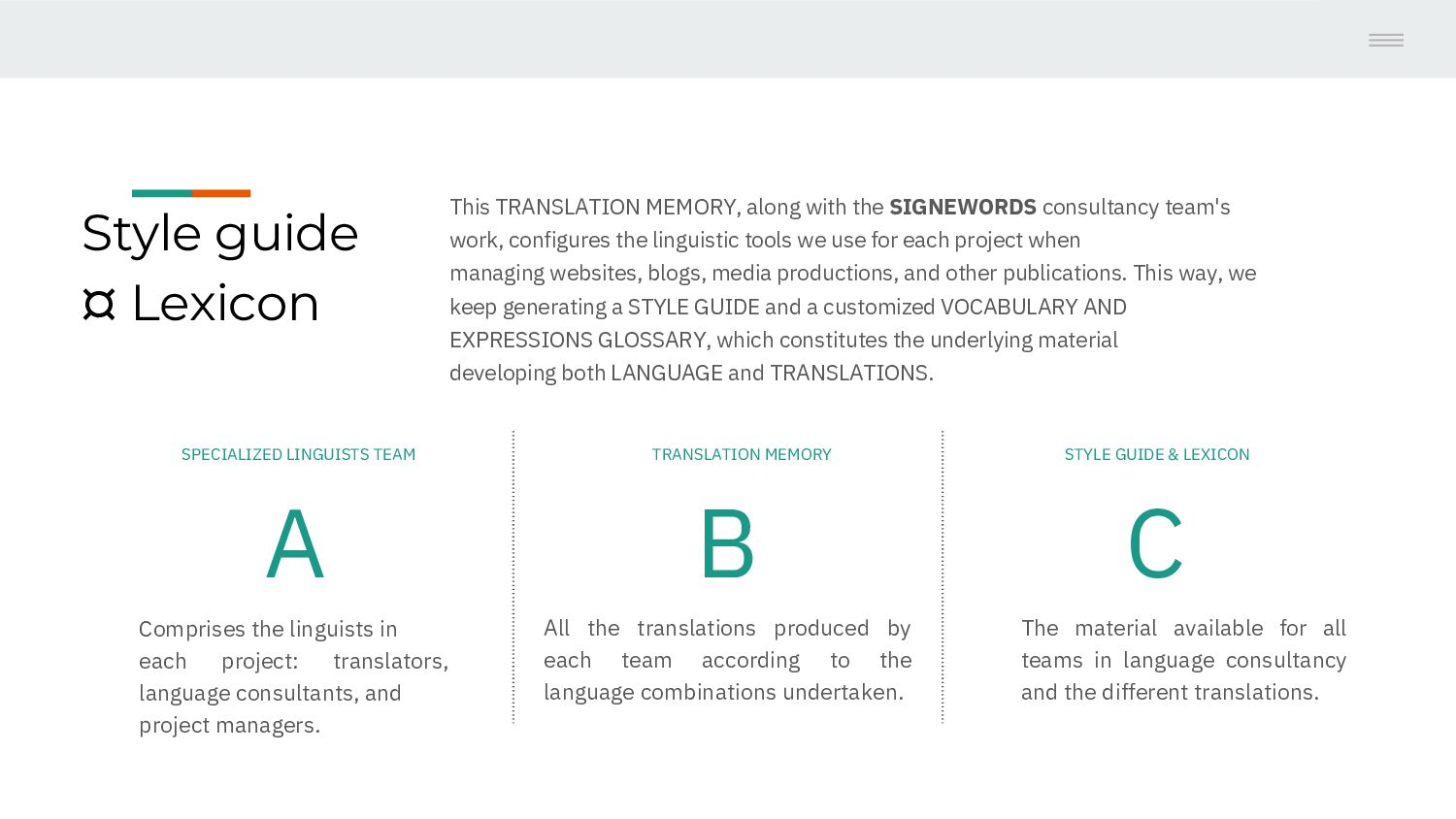 Style guide ¤ Lexicon This TRANSLATION MEMORY, ...