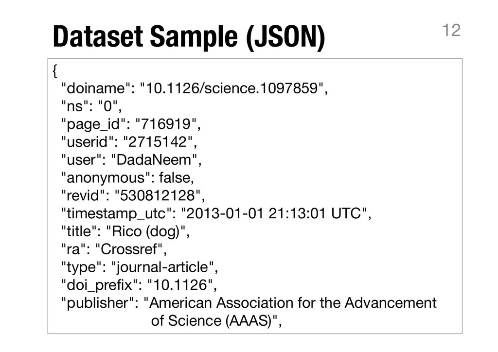 "Dataset Sample (JSON) 12 { ""doiname"": ""10.1126/..."