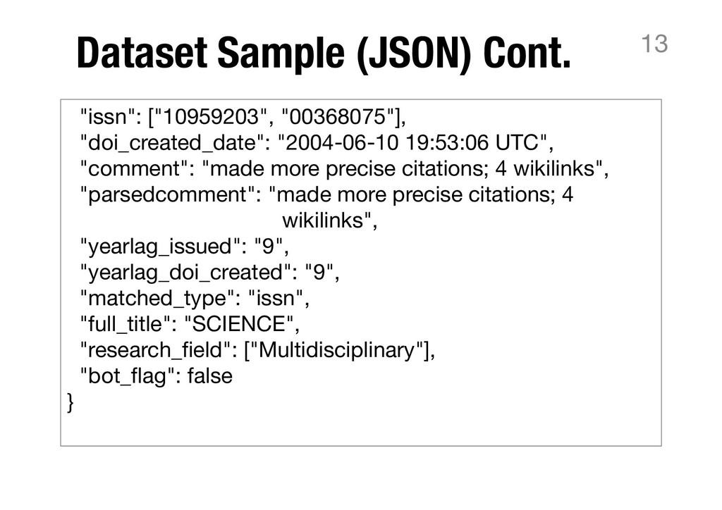 "Dataset Sample (JSON) Cont. 13 ""issn"": [""109592..."