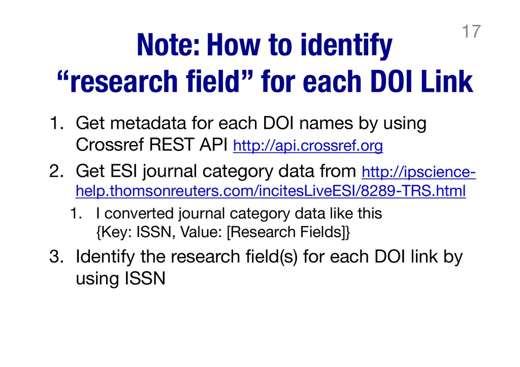 """Note: How to identify """"research field"""" for each..."""