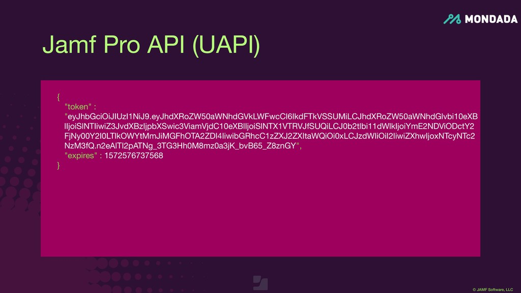 "© JAMF Software, LLC {  ""token"" : ""eyJhbGciOiJI..."
