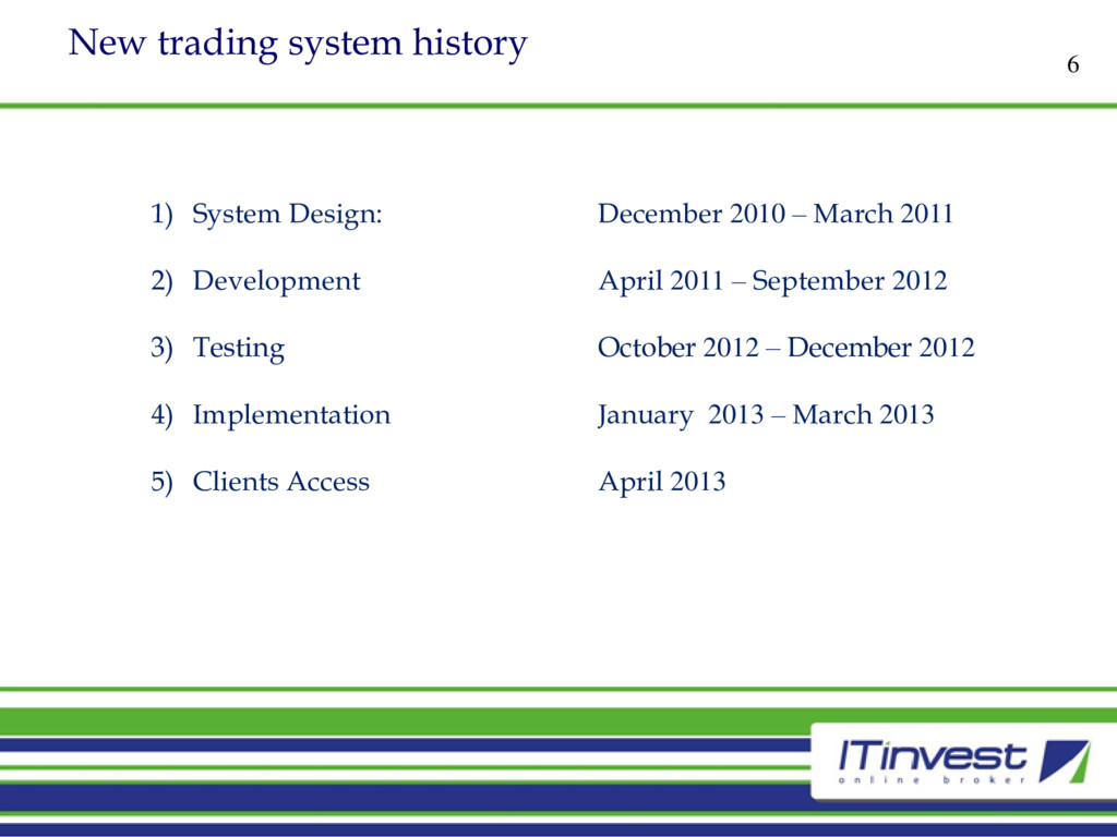 New trading system history 6 1) System Design: ...