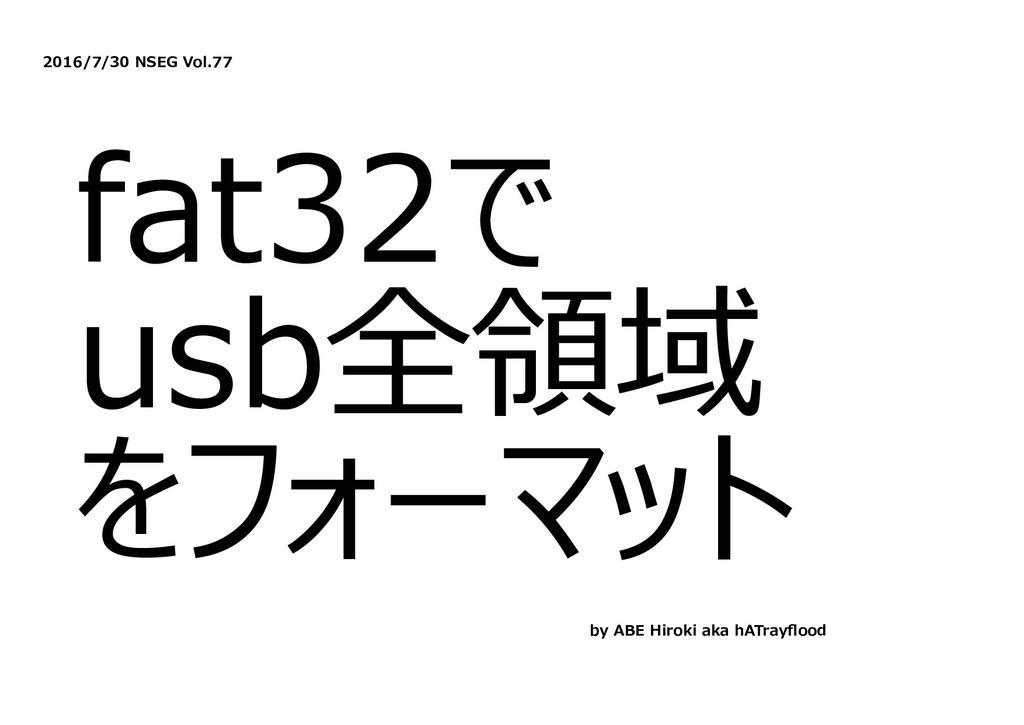 2016/7/30 NSEG Vol.77 fat32で usb全領域 をフォーマット by ...