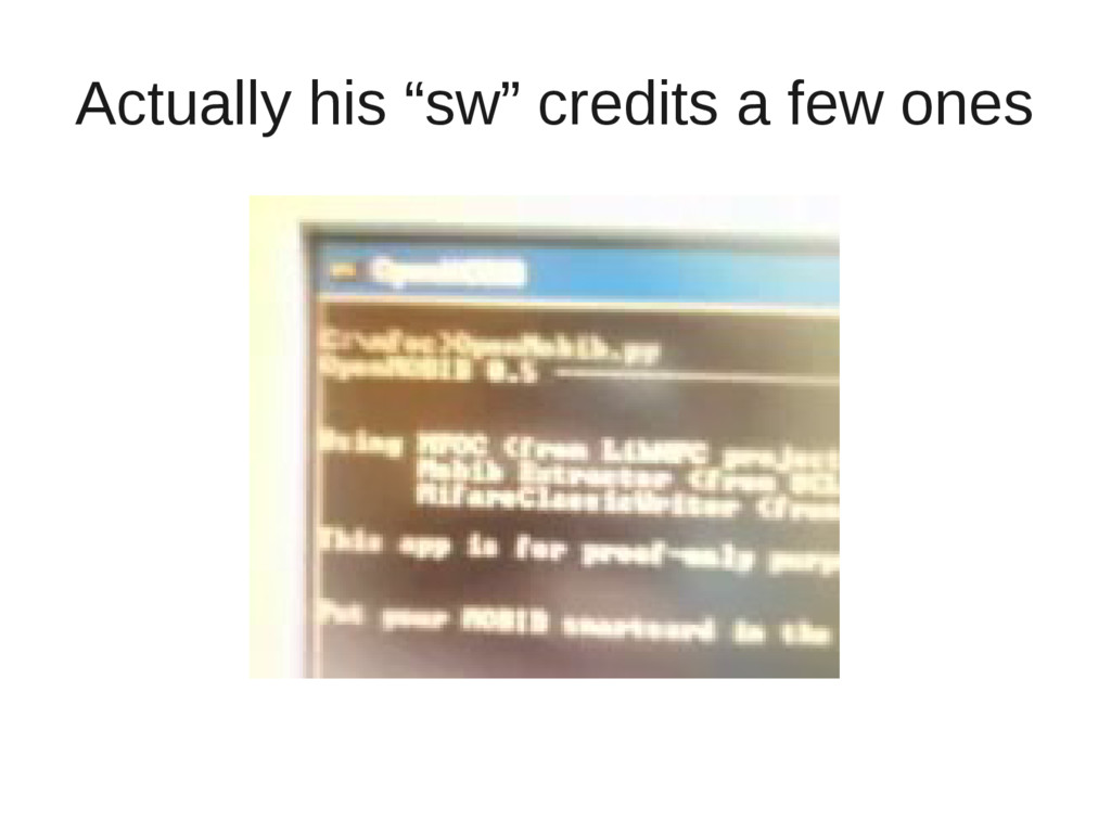 """Actually his """"sw"""" credits a few ones"""