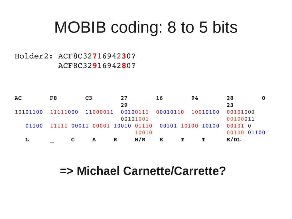 MOBIB coding: 8 to 5 bits Holder2: ACF8C3271694...