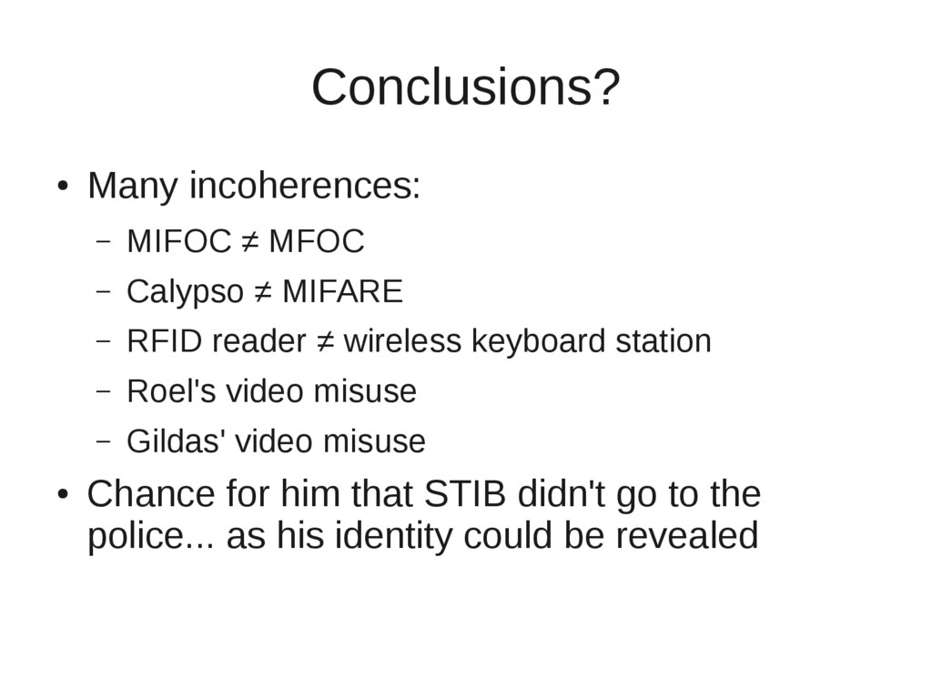 Conclusions? ● Many incoherences: – MIFOC ≠ MFO...