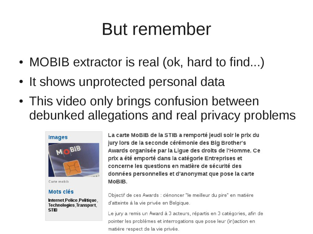 But remember ● MOBIB extractor is real (ok, har...