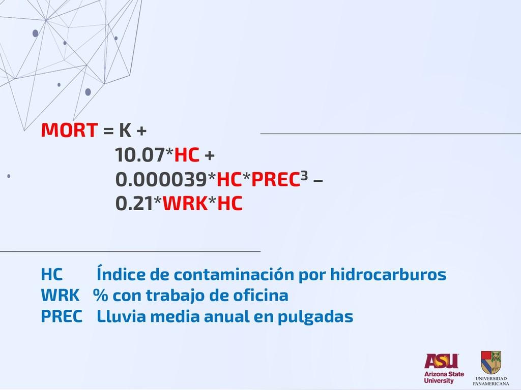 MORT = K + 10.07*HC + 0.000039*HC*PREC3 – 0.21*...