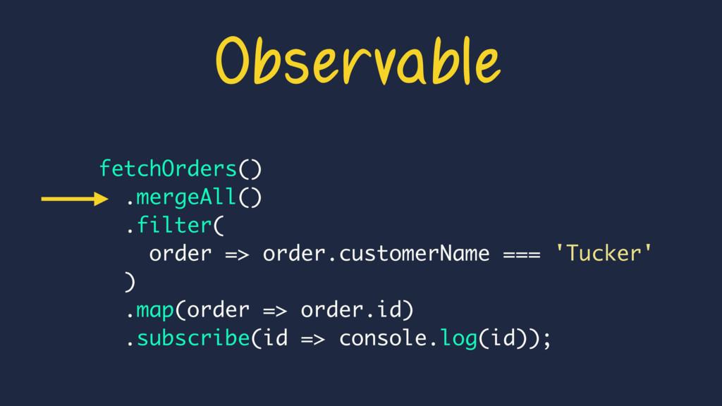 fetchOrders() .mergeAll() .filter( order => ord...