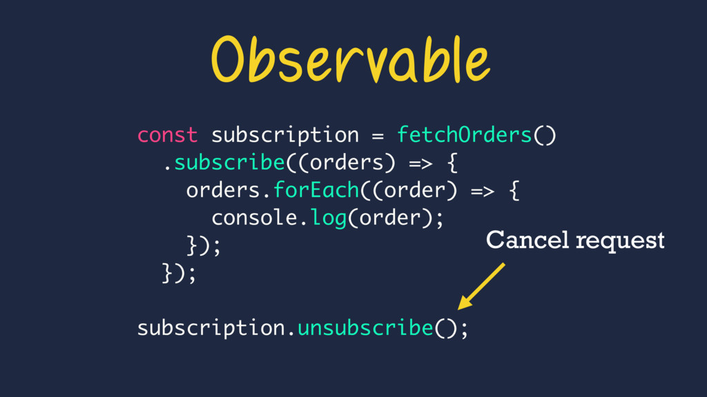 const subscription = fetchOrders() .subscribe((...