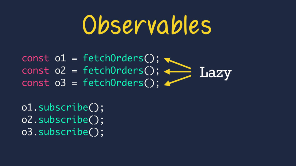 Observables Lazy const o1 = fetchOrders(); cons...