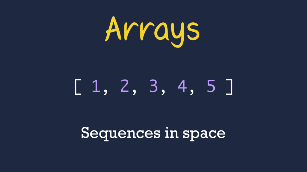 Arrays [ 1, 2, 3, 4, 5 ] Sequences in space