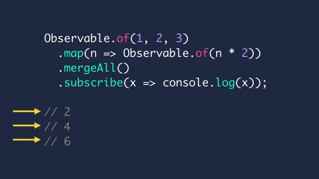 Observable.of(1, 2, 3) .map(n => Observable.of(...