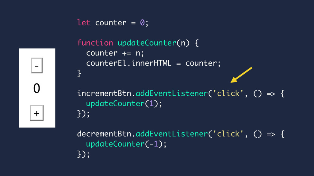 let counter = 0; function updateCounter(n) { co...