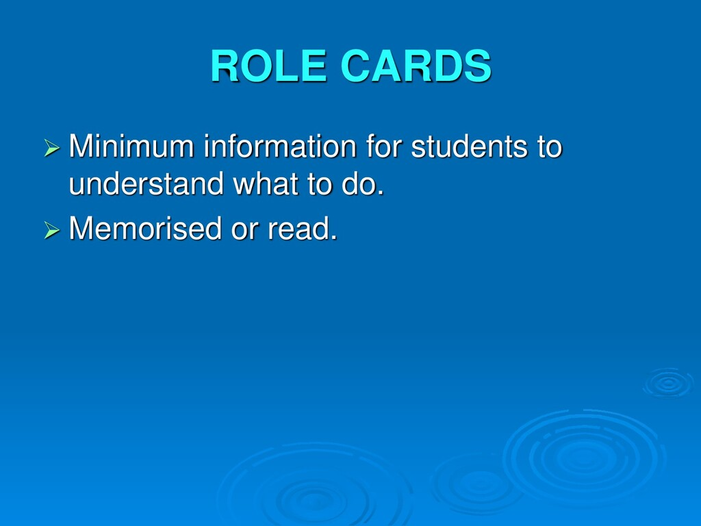 ROLE CARDS  Minimum information for students t...