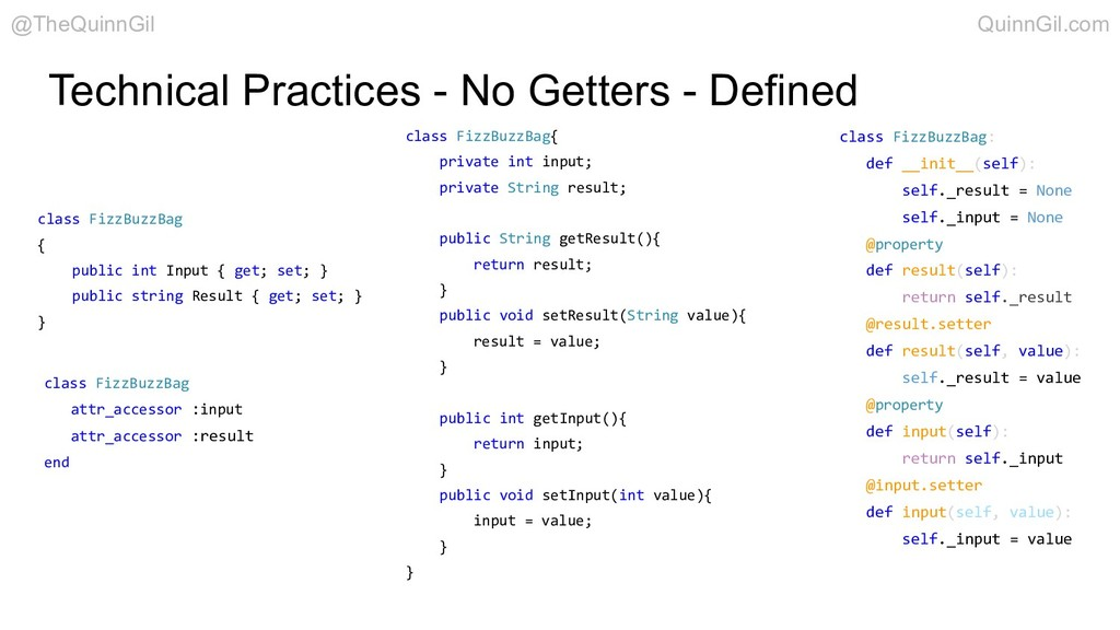 Technical Practices - No Getters - Defined clas...