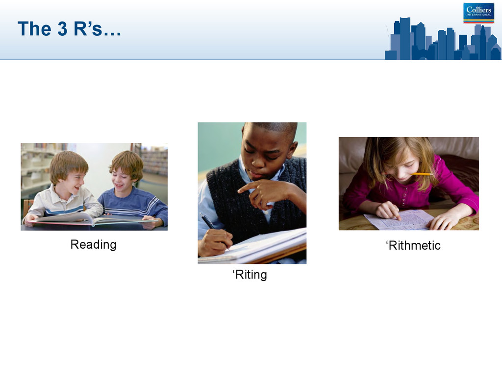 The 3 R's… Reading 'Riting 'Rithmetic