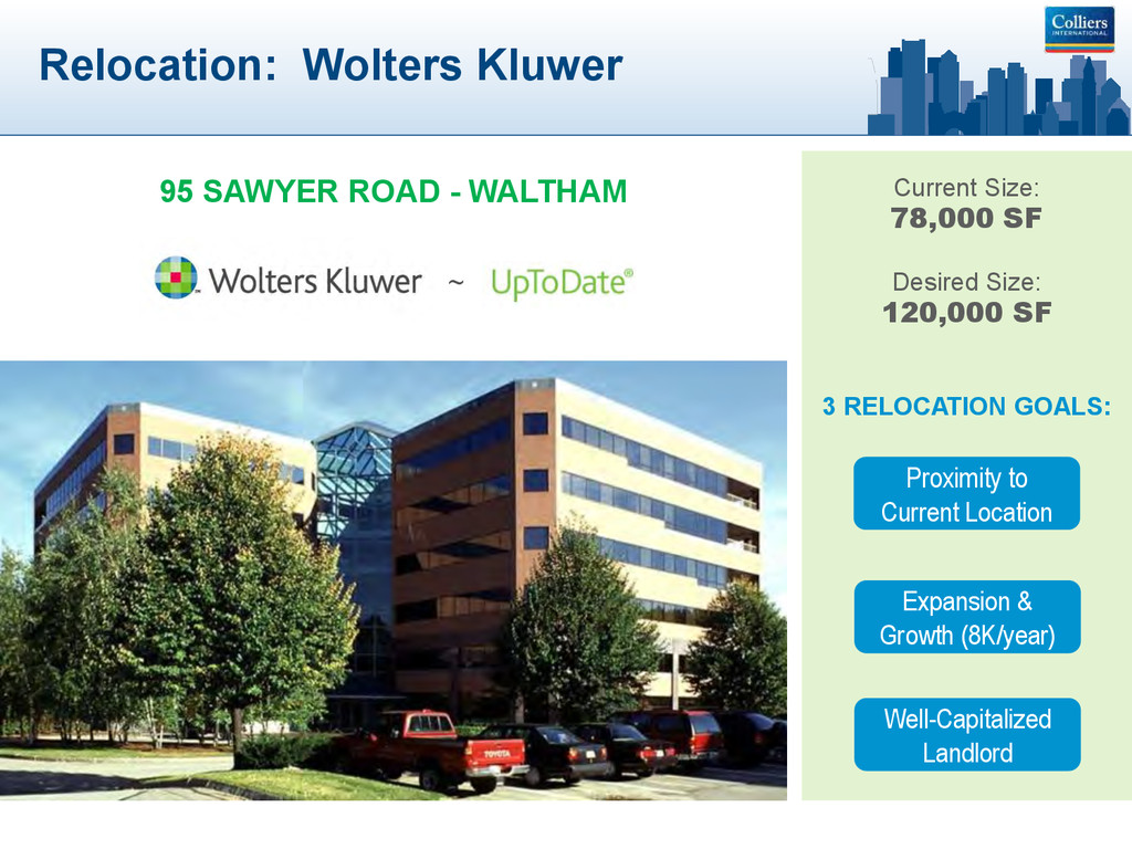 Relocation: Wolters Kluwer 95 SAWYER ROAD - WAL...