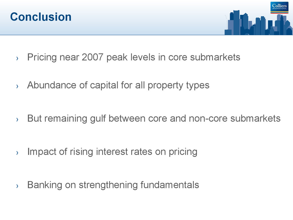 Conclusion › Pricing near 2007 peak levels in c...