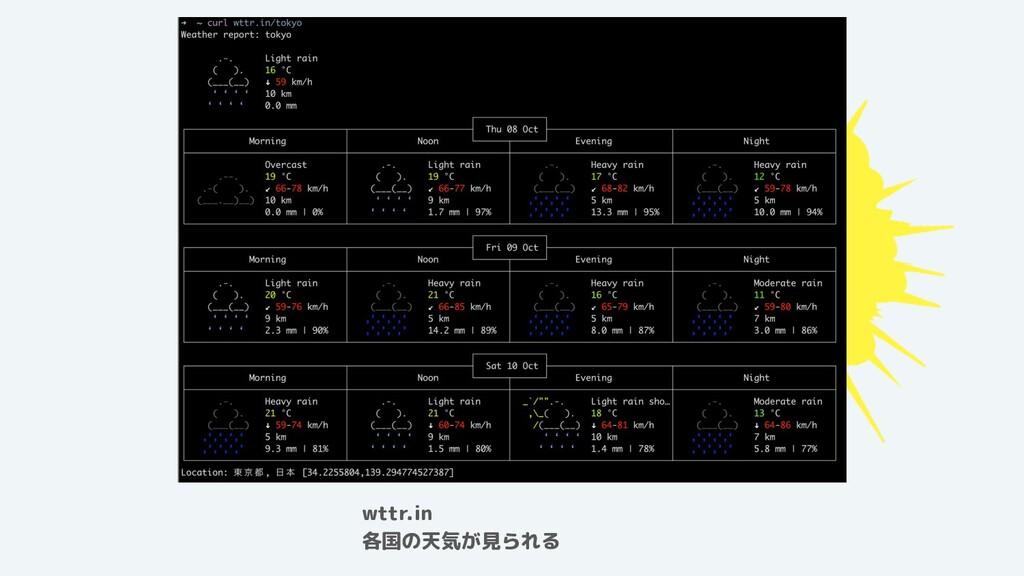 wttr.in 各国の天気が見られる
