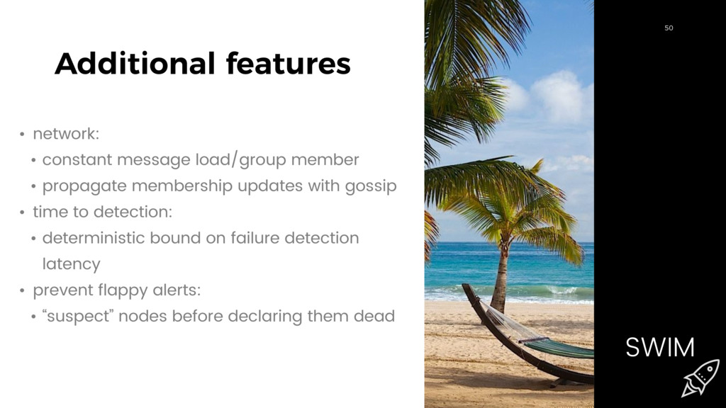 50 Additional features 50 SWIM • network: • con...