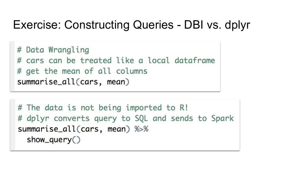 Exercise: Constructing Queries - DBI vs. dplyr